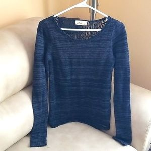 Lace open back navy striped sweater